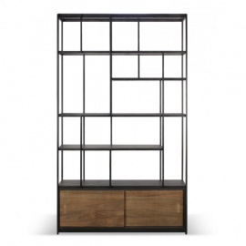 etagere-studio-teck-2-portes-couliss-ethnicraft